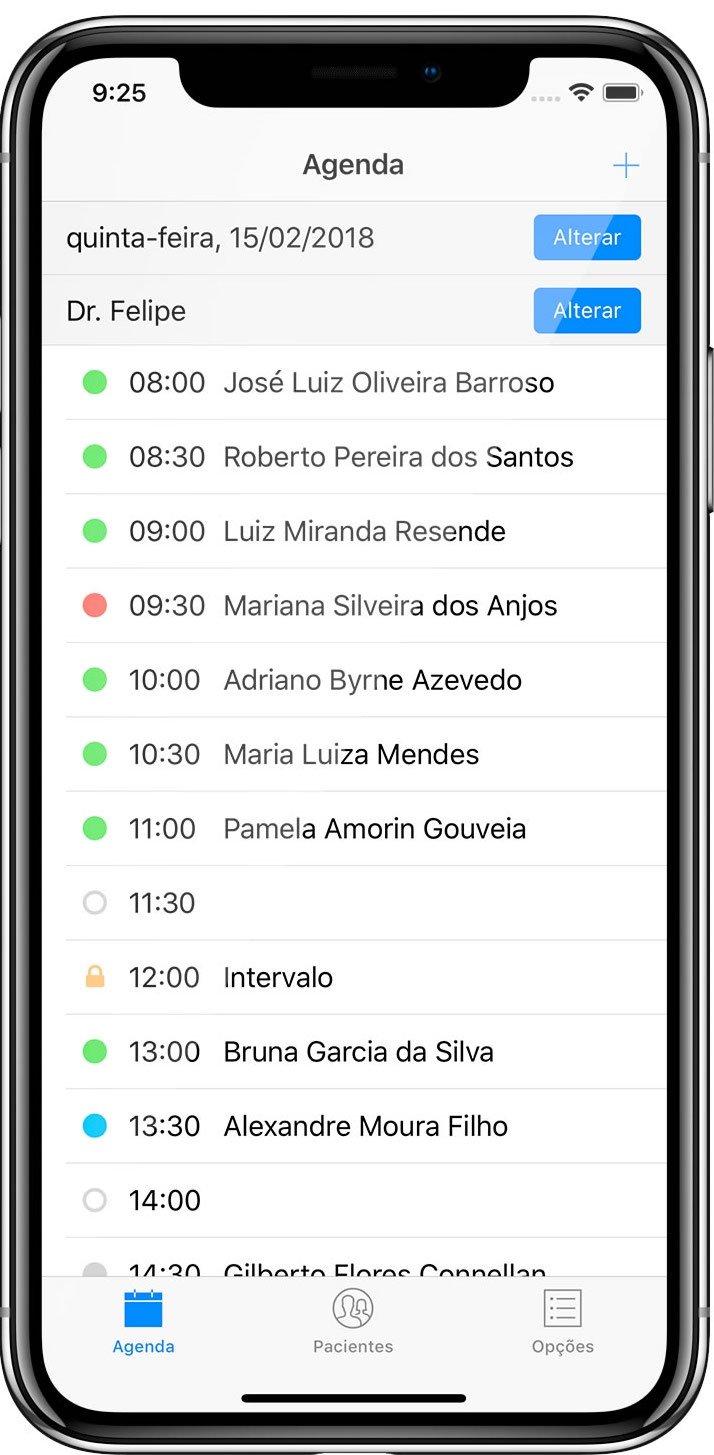 iPhone rodando aplicativo médico Consultório Live