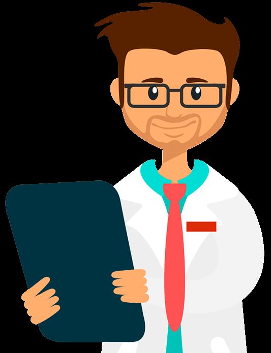 Médico avaliando software médico
