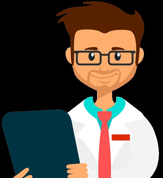 Médico avaliando software